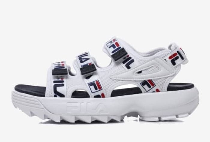 Fila Disruptor Sandals White Navy Tapey Tape Men's