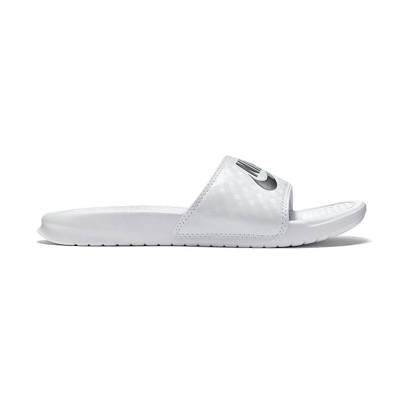 cheap for discount ad728 18dda ... Nike Benassi JDI Sandals White Metallic Silver Women s - Pimp Kicks ...