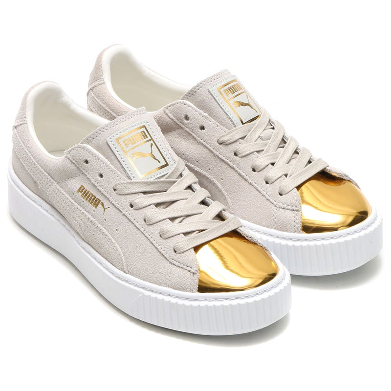 lowest price 2d84c 15803 Puma Suede Platform Metallic Gold White Women's