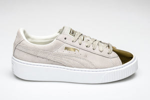 Puma Suede Platform Metallic Gold White Women's