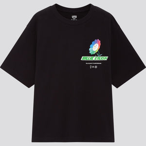Uniqlo X Billie Eilish X Takashi Murakami Flower Black T-Shirt