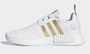 Adidas NMD R1 Cloud White Gold Stripes Women's