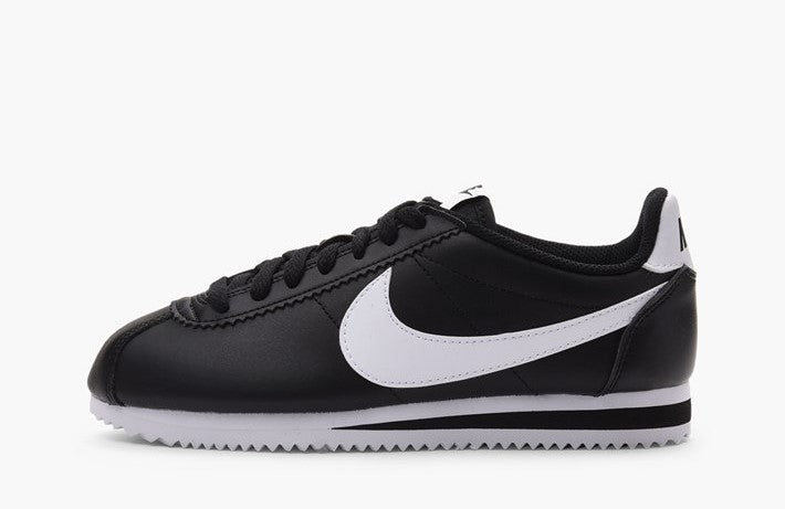 the latest d5fd6 d559e Nike Cortez Basic Leather Black White Women s - Pimp Kicks ...