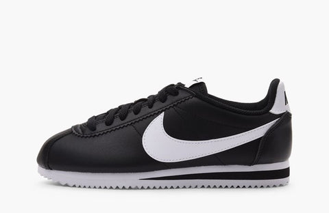 Nike Cortez Basic Leather Black White Women's - Pimp Kicks