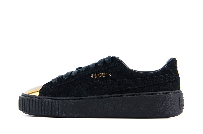 b15eb9917959 Puma Suede Platform Metallic Gold Black Women s - Pimp Kicks ...