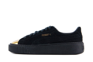 Puma Suede Platform Metallic Gold Black Women's - Pimp Kicks