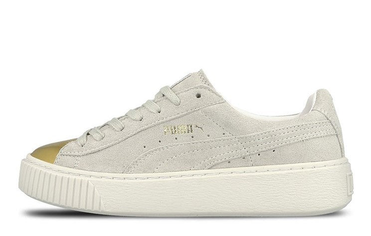 Puma Suede Platform Metallic Gold White Women's - Pimp Kicks