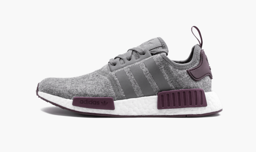 the latest 7df29 29a47 Adidas NMD R1 Wool Gray Maroon Men s
