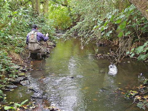 Martin Smith streamer fishing on a South Yorkshire brook