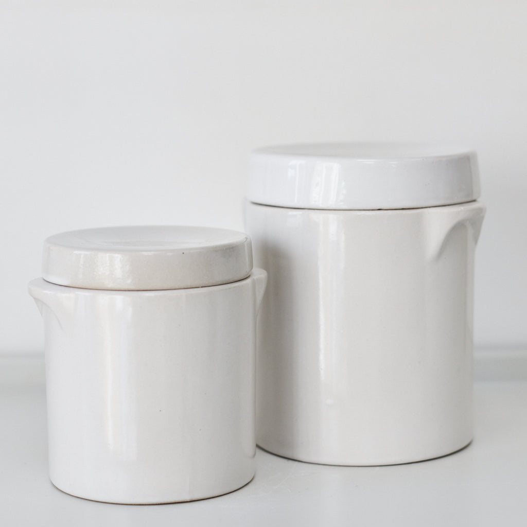 White Storage Jars - Vinegar Shed
