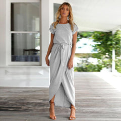 MIA& DRESSES Gray / S LONG SPLITBELT Dress