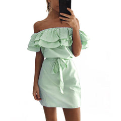 MIA& DRESSES RUFFLE-STRIPED Dress