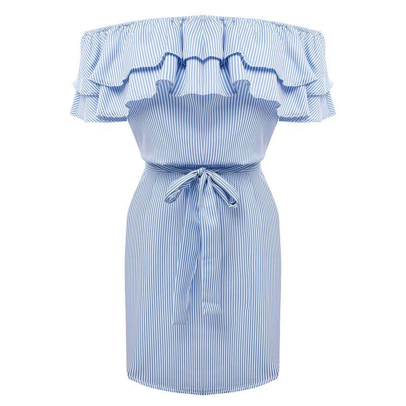 MIA& DRESSES S / BLUE RUFFLE-STRIPED Dress