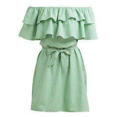 MIA& DRESSES S / GREEN RUFFLE-STRIPED Dress