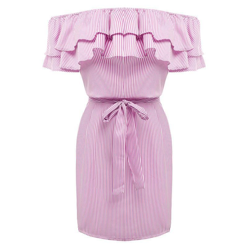 MIA& DRESSES S / PINK RUFFLE-STRIPED Dress