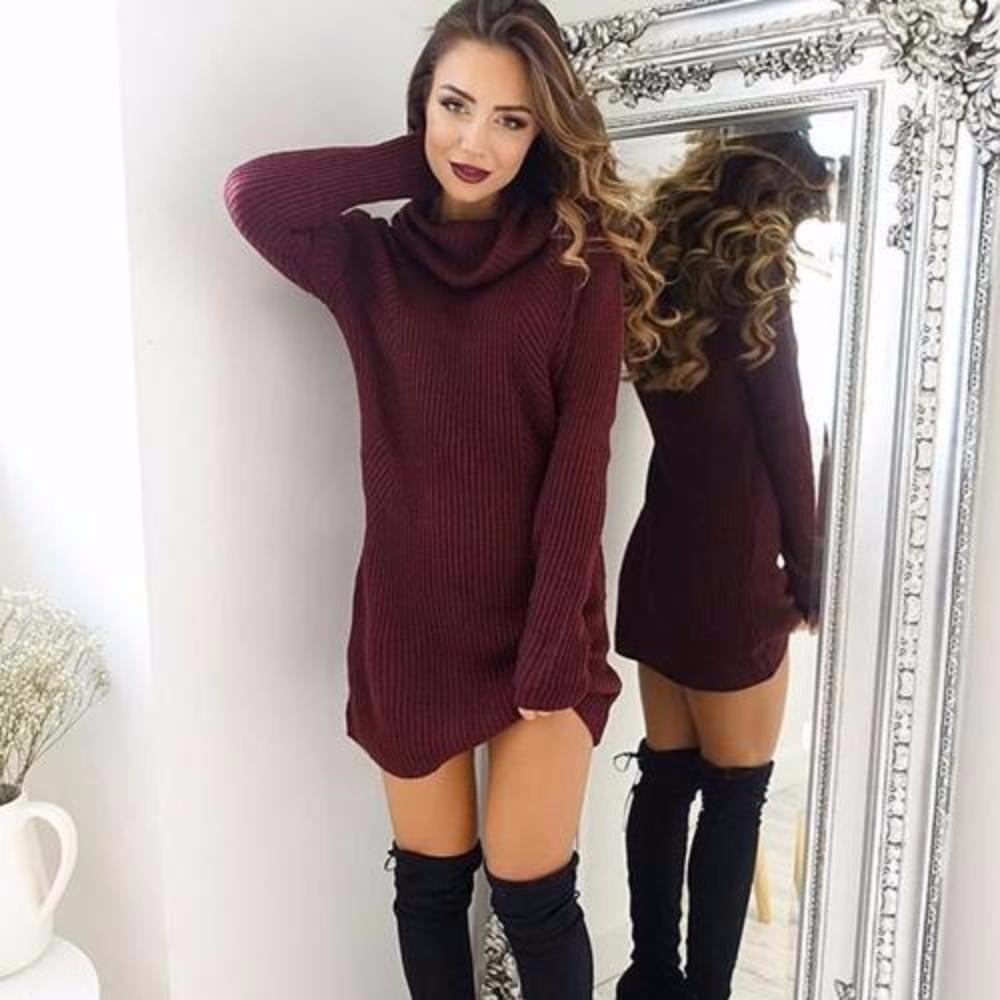 MIA& DRESSES Wine red / L SWEATER-DRESS Mini