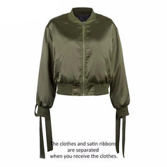 MIA& JACKET Green / S SATIN LACE UP Bomber