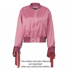 MIA& JACKET Pink / S SATIN LACE UP Bomber