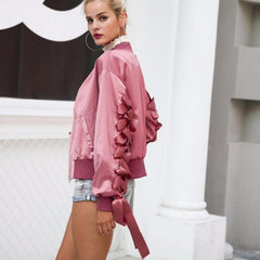 MIA& JACKET SATIN LACE UP Bomber