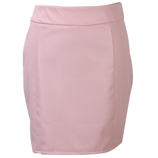 MIA& SKIRTS Pink / S PENCIL LEATHER Mini Skirt