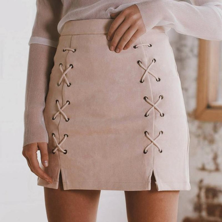 SUEDE LACED Pencil Skirt
