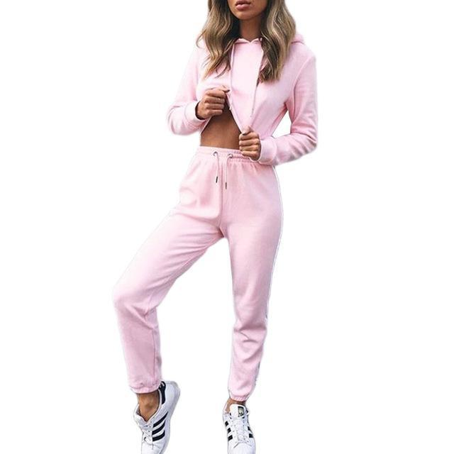 MIA& SUITS Pink / S HOODED TRACKSUIT Set