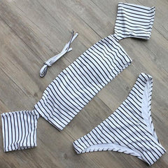 MIA& SWIMWEAR Striped / S BANDEAU Off-shoulder Bikini