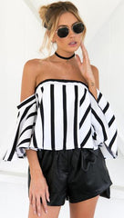 MIA& TOP Black / S OFF-SHOULDER STRIPED Top