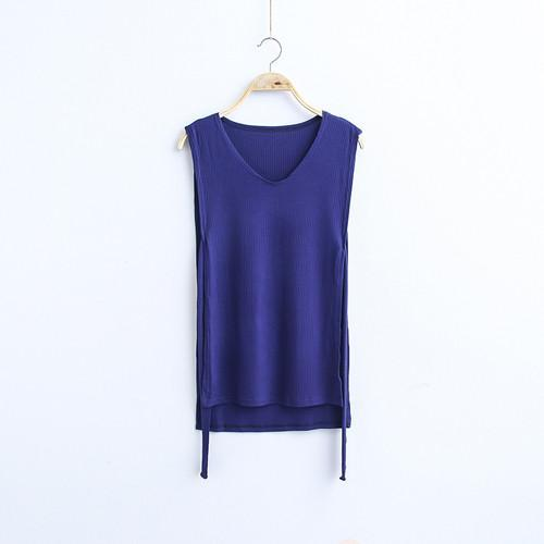 MIA& TOP blue / One Size SLEEVELESS Cotton Top
