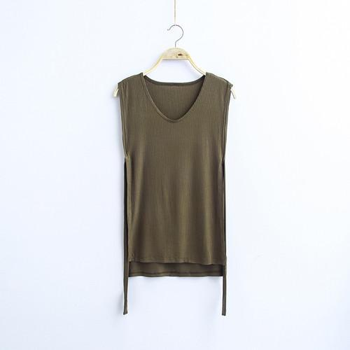 MIA& TOP green / One Size SLEEVELESS Cotton Top