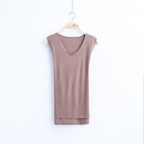 MIA& TOP khaki / One Size SLEEVELESS Cotton Top