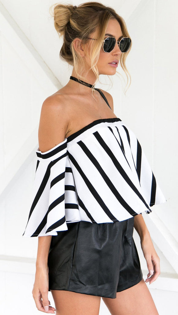 MIA& TOP OFF-SHOULDER STRIPED Top