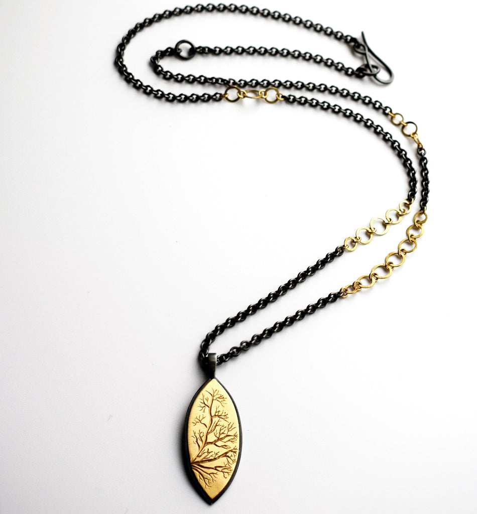 Gold and Silver Branch Necklace