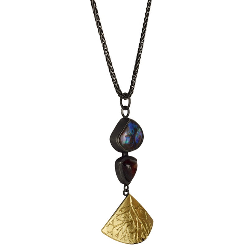 Boulder Opal and Garnet Roots Necklace