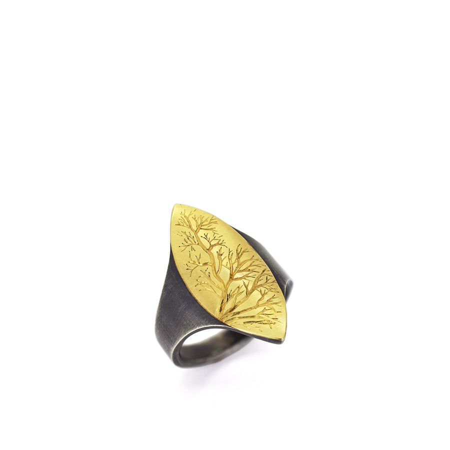 Gold and Silver Branch Ring