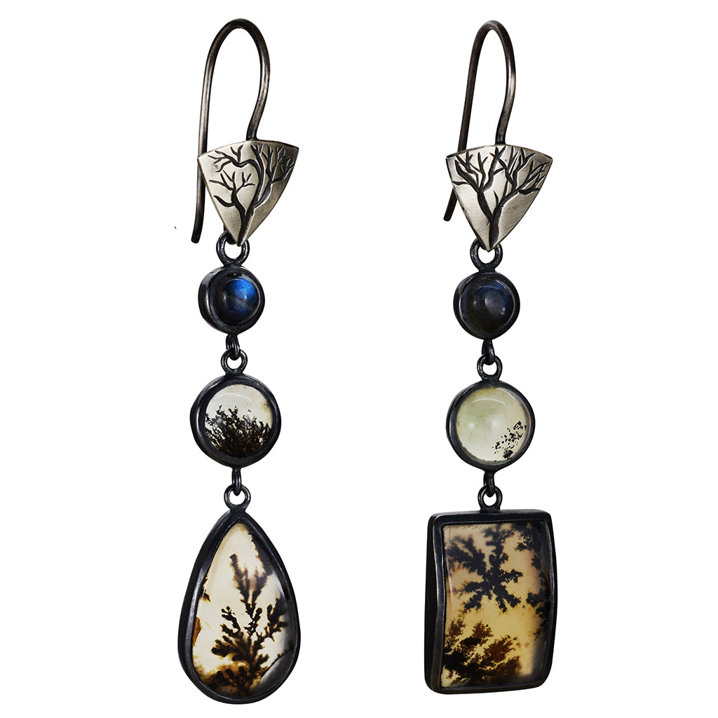 Dendritic Agate Mismatched Earrings