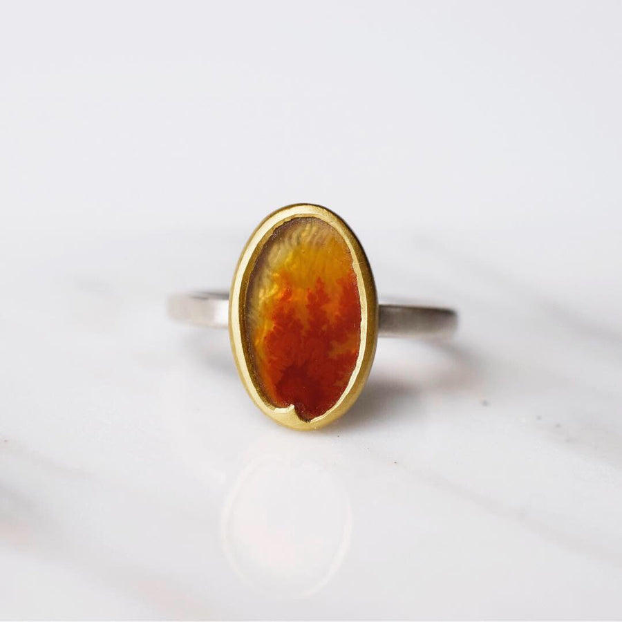 Flame Agate Ring