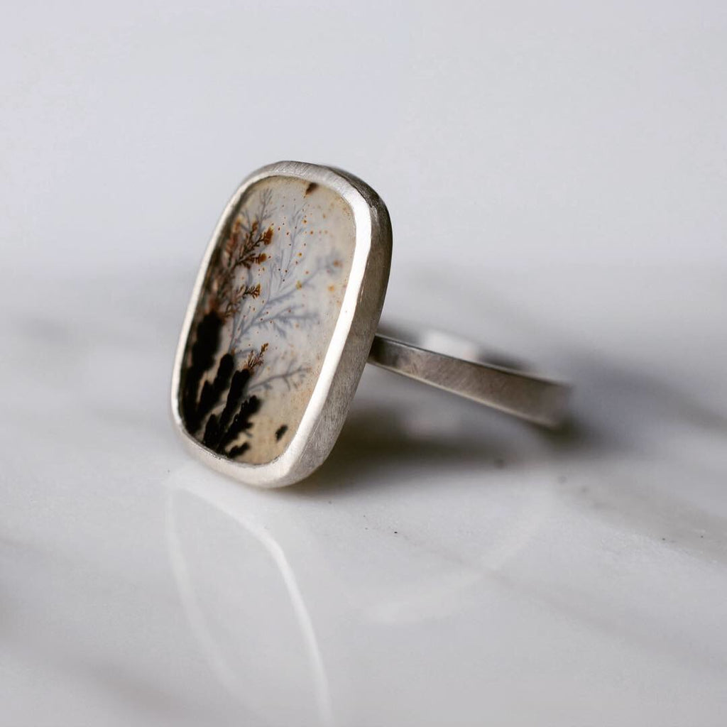 Afterimage Dendritic Agate Ring #1