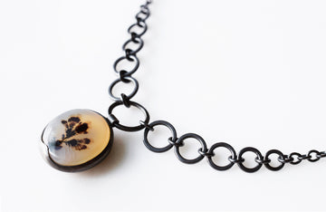 Black Posey Dendritic Agate Necklace