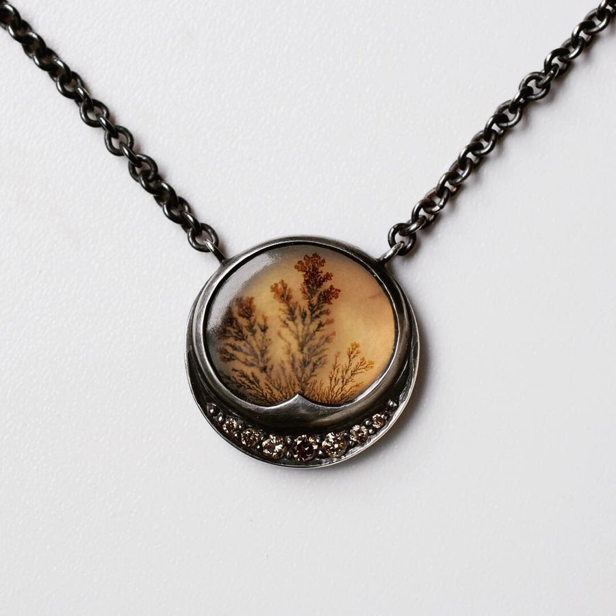 Secret Garden Dendritic Agate and Diamond Necklace