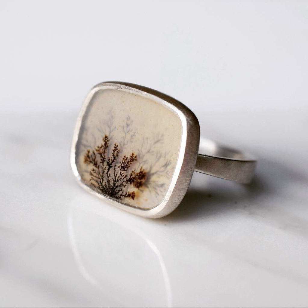 Afterimage Dendritic Agate Ring #2