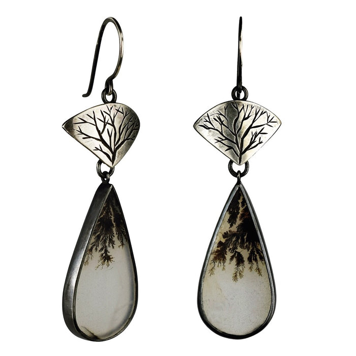 Tree Earrings with Dendritic Agates