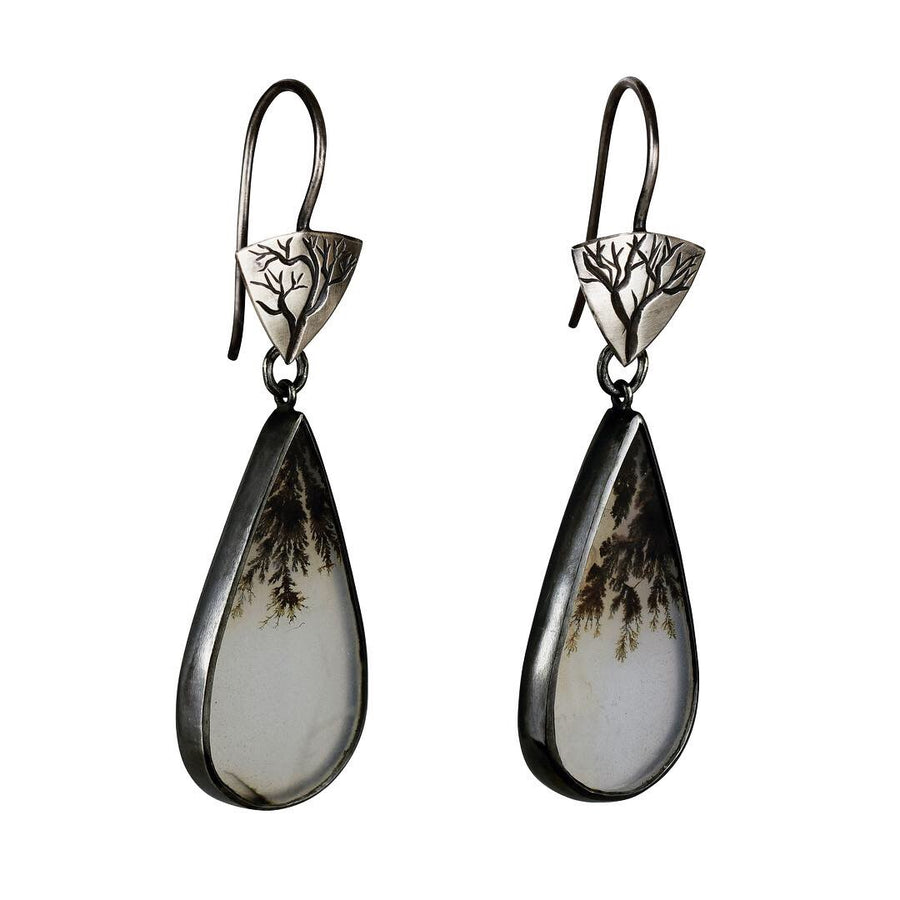 Little Branch Earrings with Dendritic Agate Drops