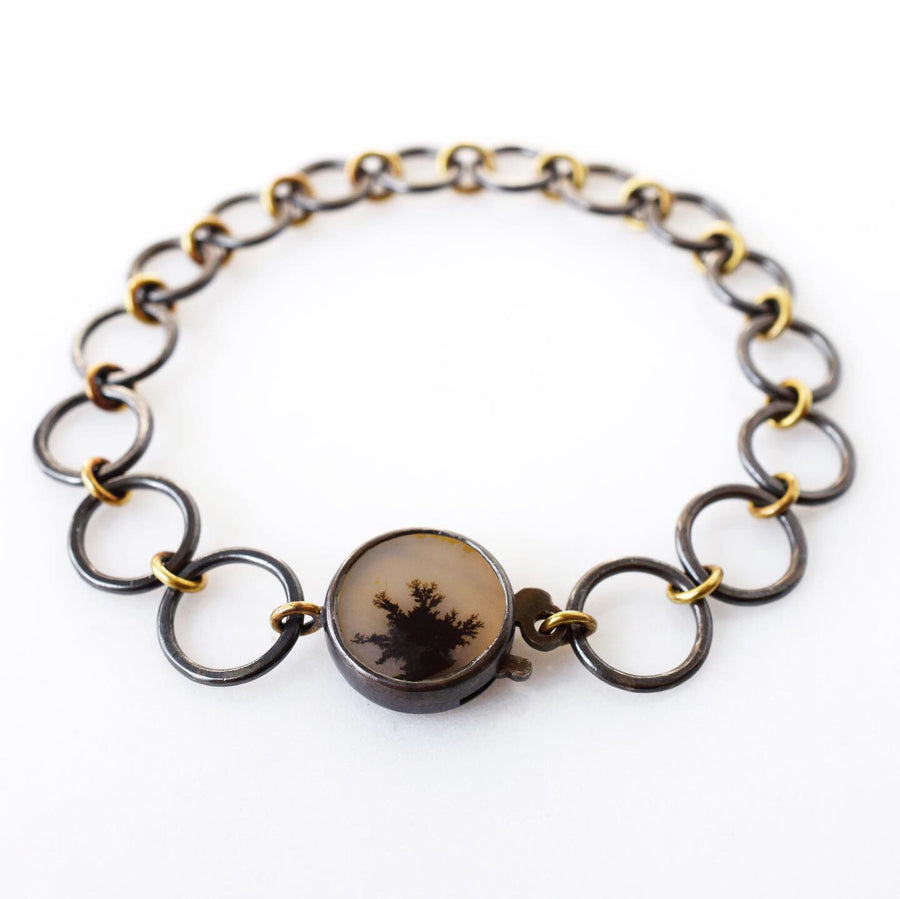 Gold and silver inkblot bracelet