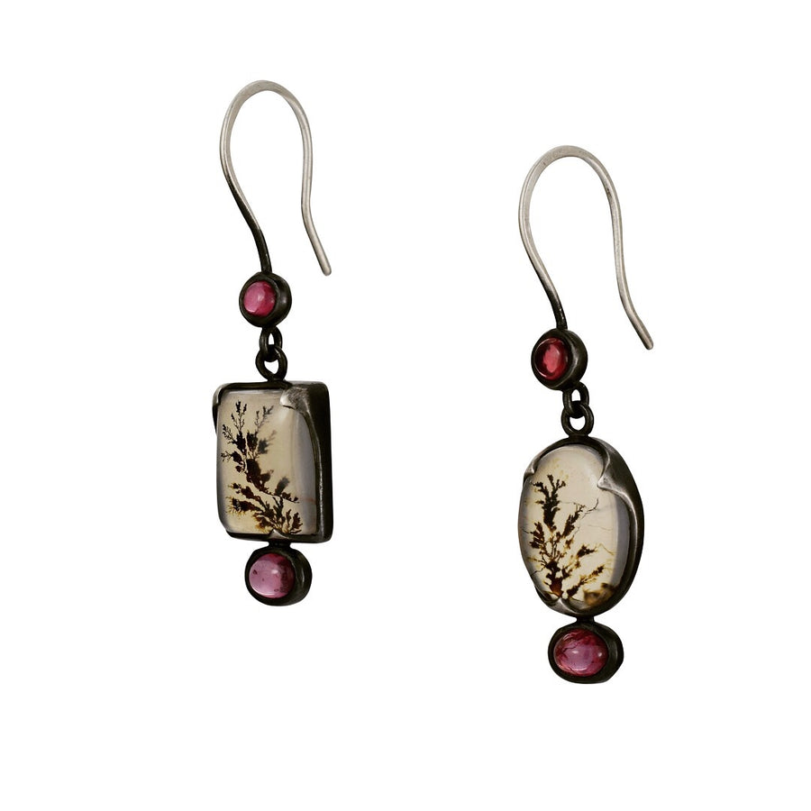 Pink Spinel and Dendritic Agate Earrings