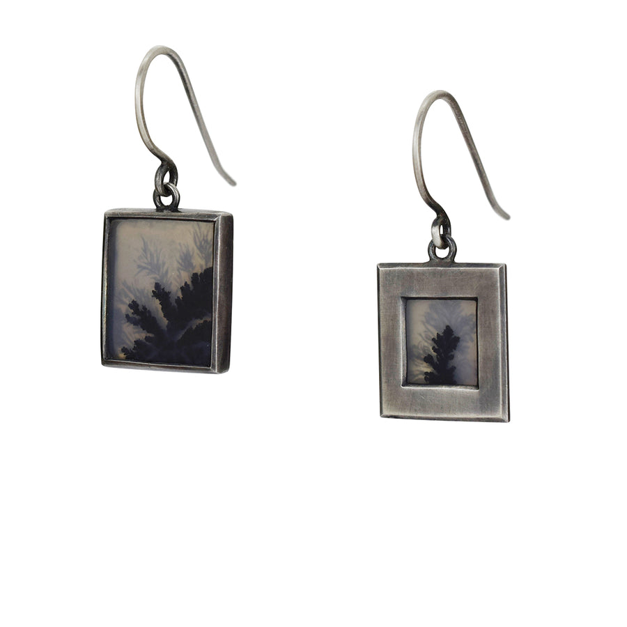 Inkblot Dendritic Agate Earrings