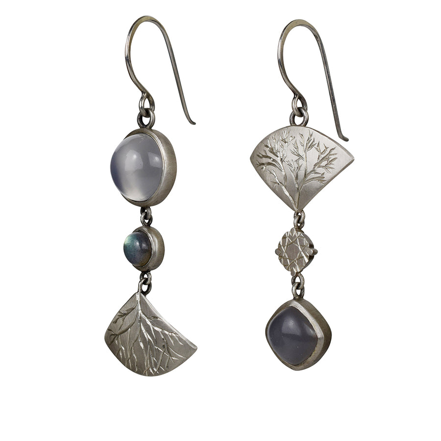 Mismatched Moonstone and Labradorite Earrings
