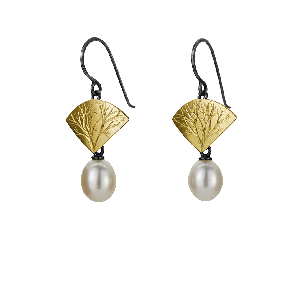 Gold and Silver Branch Earring with Pearls