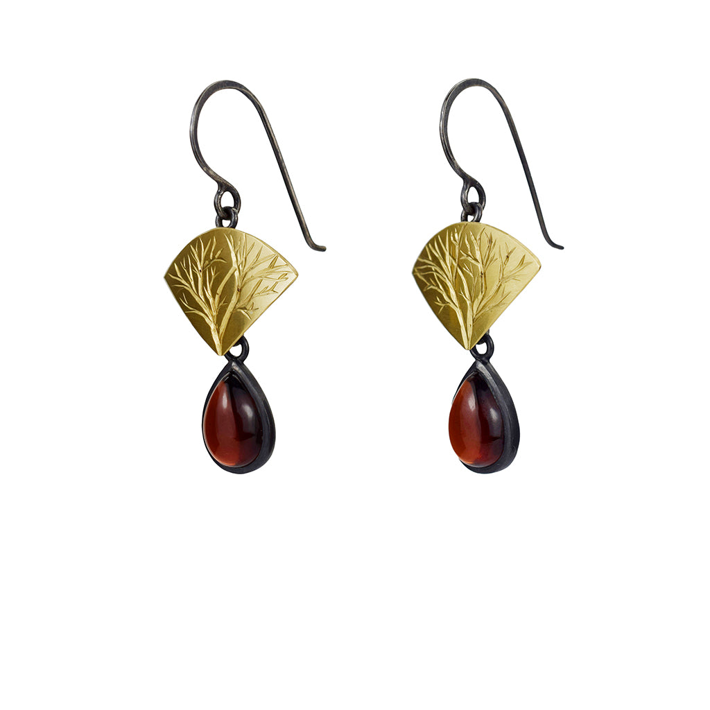 Gold and Silver Branch Earrings with Garnets