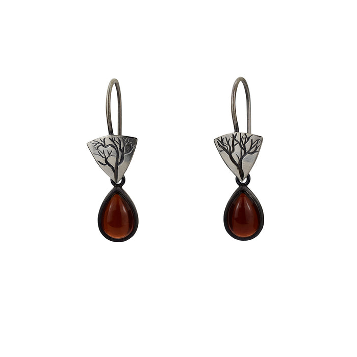 Little Branch Earrings with Garnets